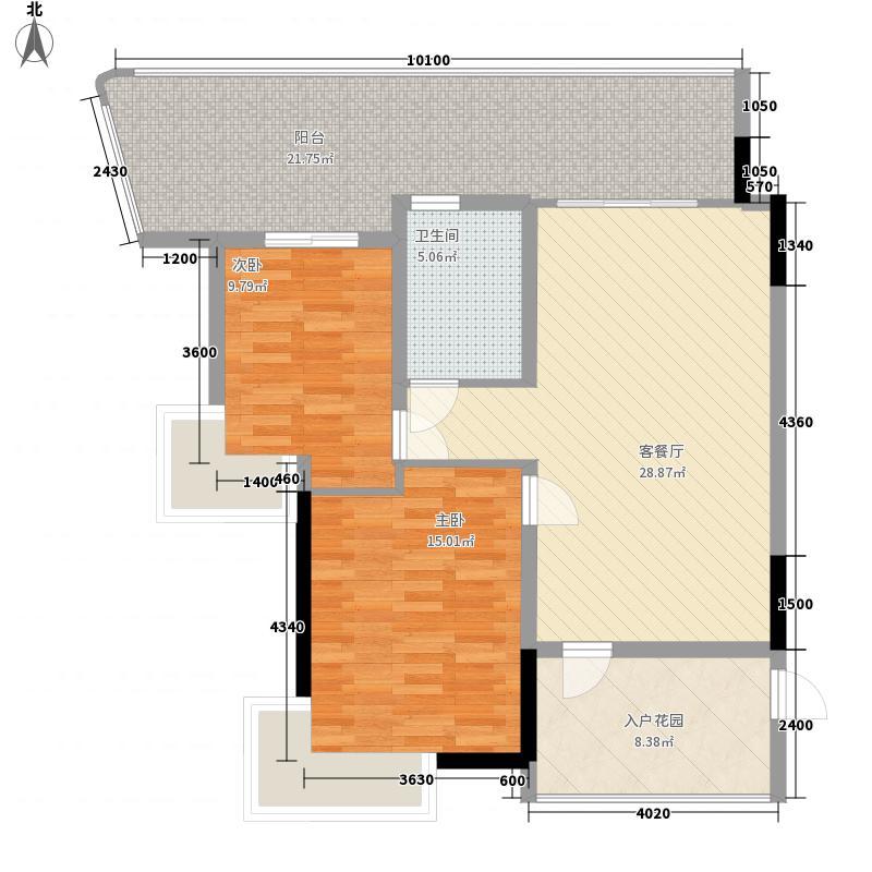 蓝山帝景两居室18户型2室1厅1卫1厨