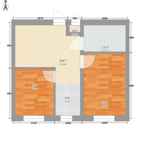 西典花园2室1厅1卫0厨59.00㎡户型图