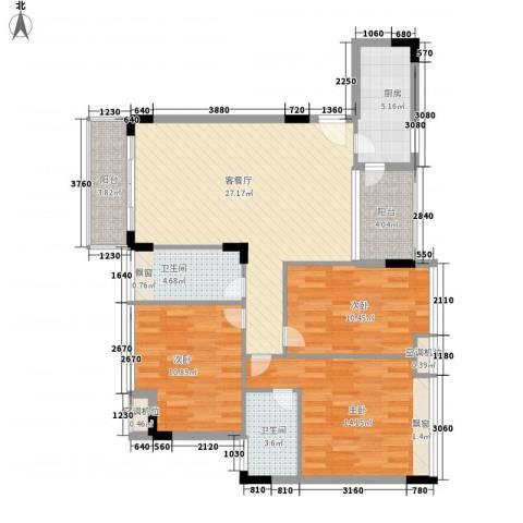 金地格林小城3室1厅2卫1厨120.00㎡户型图