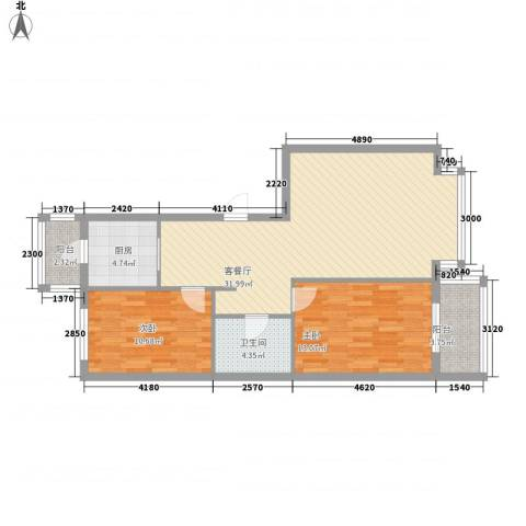 万象城2室1厅1卫1厨70.90㎡户型图