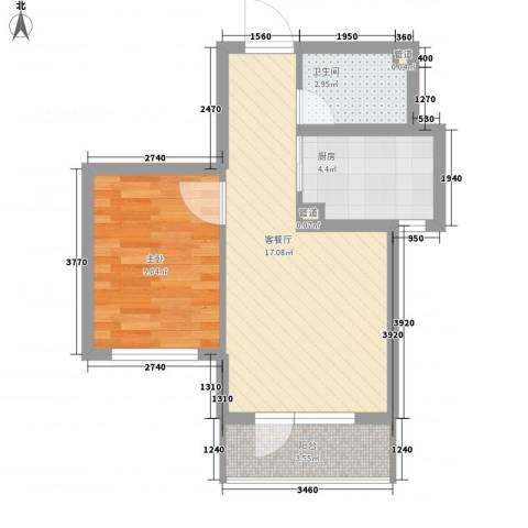 山河秀景二期1室1厅1卫1厨54.00㎡户型图