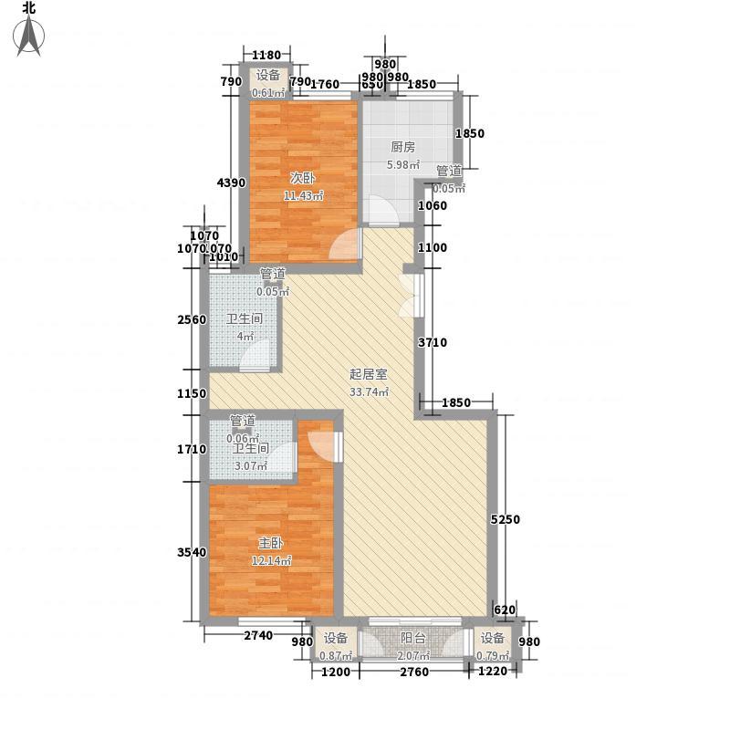 金隅凤麟洲108.00㎡3#2C户型2室2厅2卫1厨