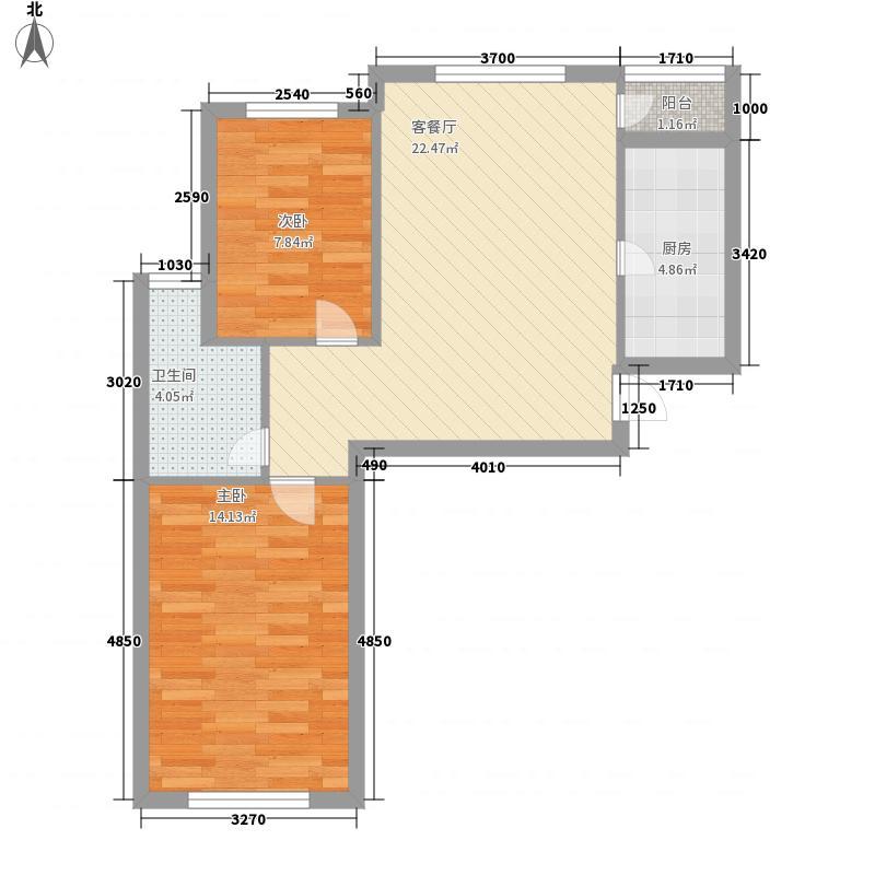 军悦湾77.00㎡10#C户型2室1厅1卫1厨
