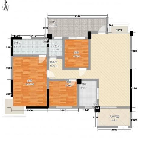 锦江花园3室1厅2卫1厨104.00㎡户型图