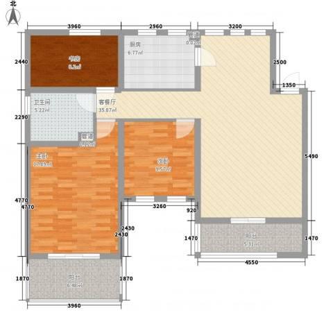 加州洋房3室1厅1卫1厨98.00㎡户型图