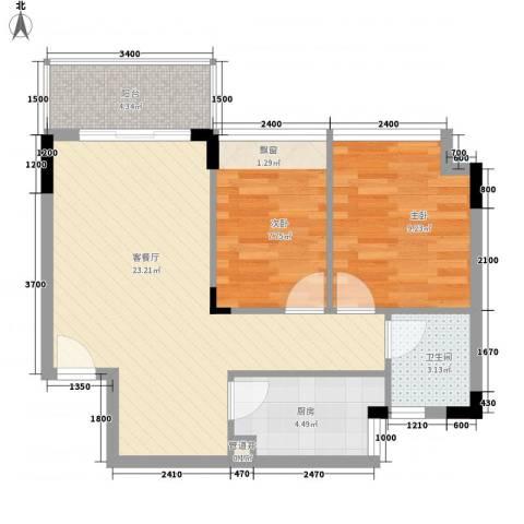 金地格林小城2室1厅1卫1厨64.00㎡户型图