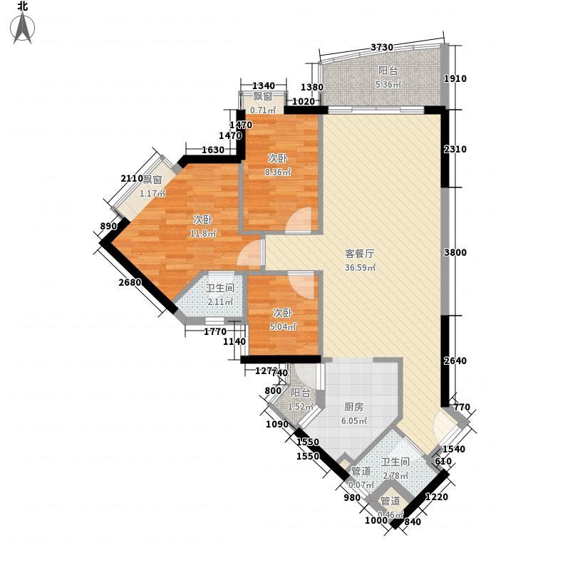 江南苑103.57㎡C栋07单元3室面积10357m户型