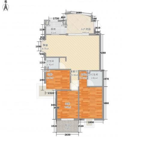 锦江花园3室1厅2卫0厨98.00㎡户型图