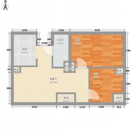 阳光金峰阁2室1厅1卫0厨80.00㎡户型图
