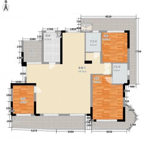 锦江花园3室1厅2卫1厨201.00㎡户型图