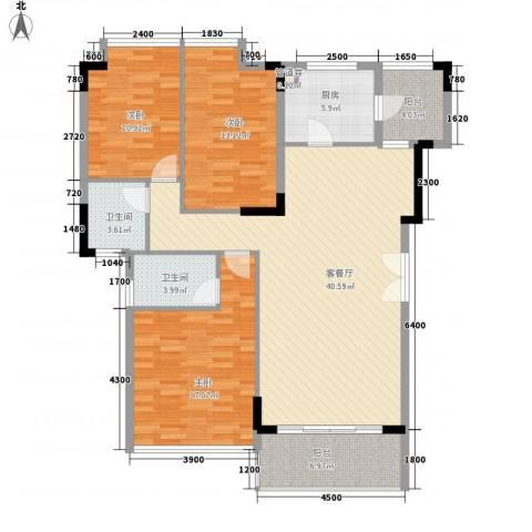 金地格林小城3室1厅2卫1厨112.00㎡户型图