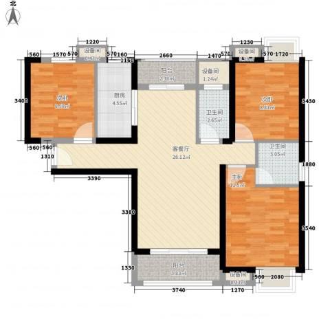 万益广场3室1厅2卫1厨73.86㎡户型图