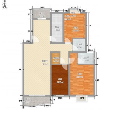 长阳花园三期3室1厅2卫1厨148.00㎡户型图