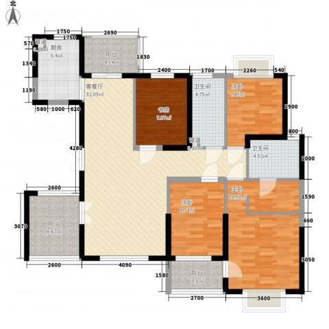 锦江花园4室1厅2卫1厨146.00㎡户型图
