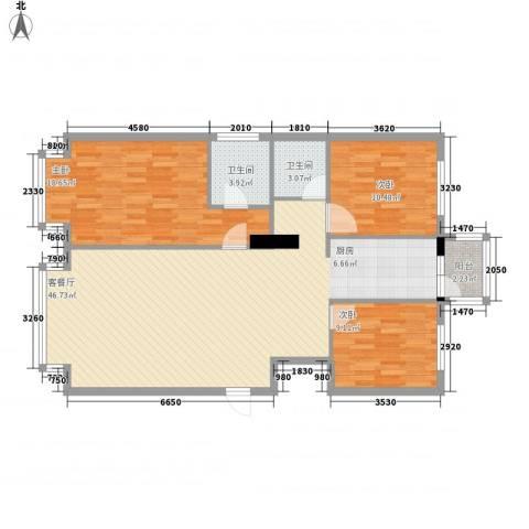 万象城3室1厅2卫0厨93.95㎡户型图