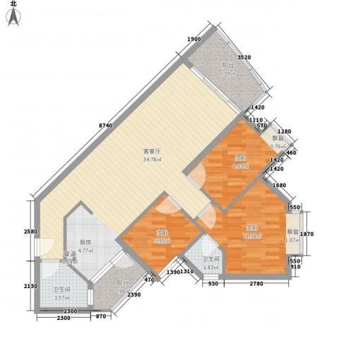 江南苑3室1厅2卫0厨104.00㎡户型图