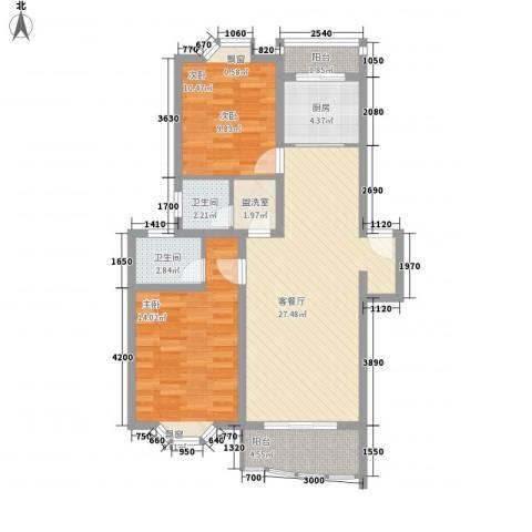 长阳花园三期2室1厅2卫1厨102.00㎡户型图