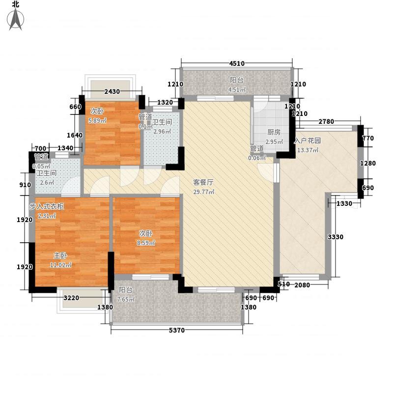 梦云南雨林澜山127.62㎡高层B1户型3室2厅2卫1厨