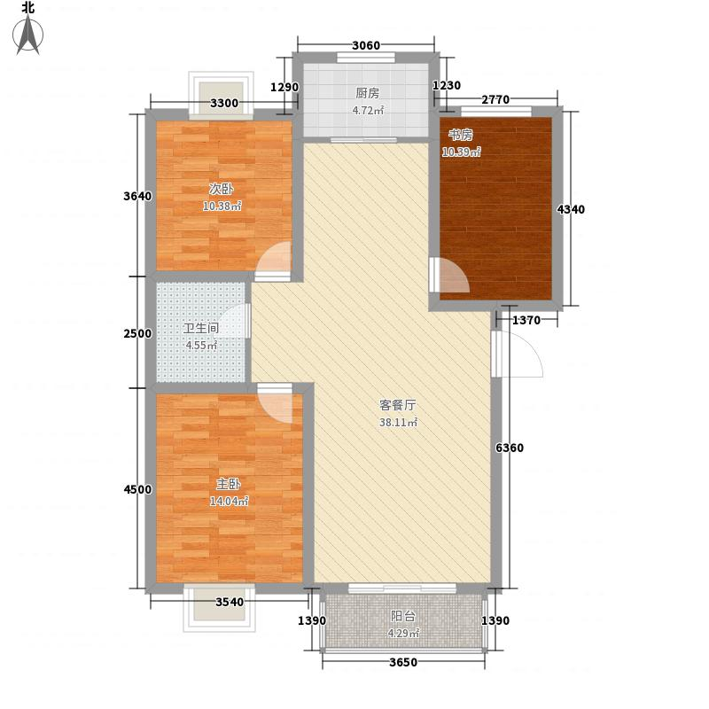 保利花园11.50㎡F户型3室2厅1卫1厨