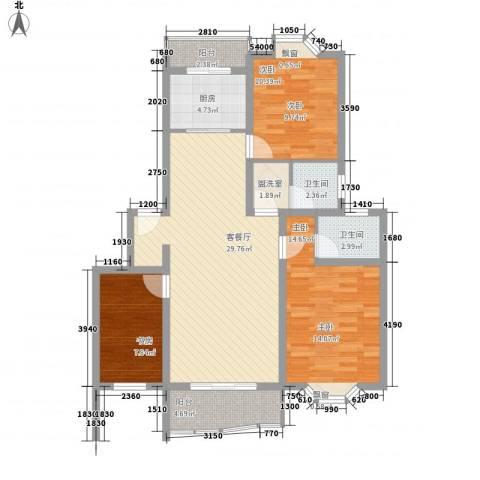 长阳花园三期3室1厅2卫1厨118.00㎡户型图