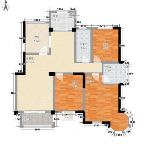 万福・君临天下3室1厅2卫1厨103.98㎡户型图