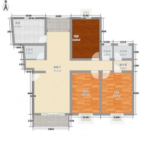 长阳花园三期3室1厅3卫1厨140.00㎡户型图