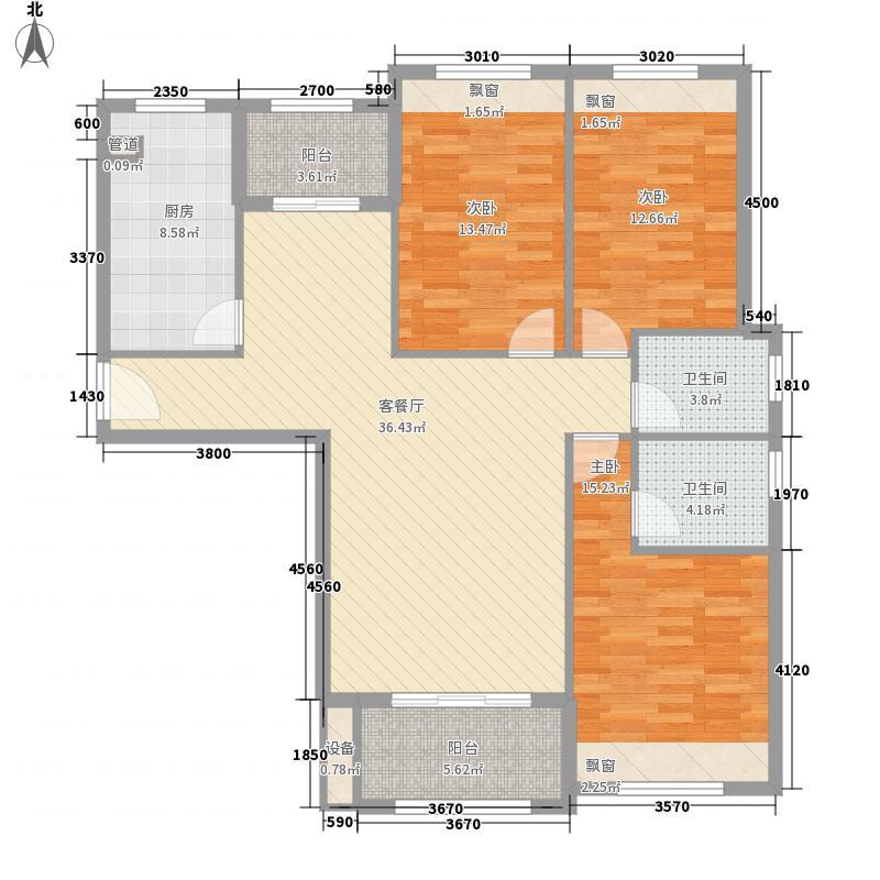 金绿欧洲城128.00㎡18/19/20#楼D4户型3室2厅2卫1厨