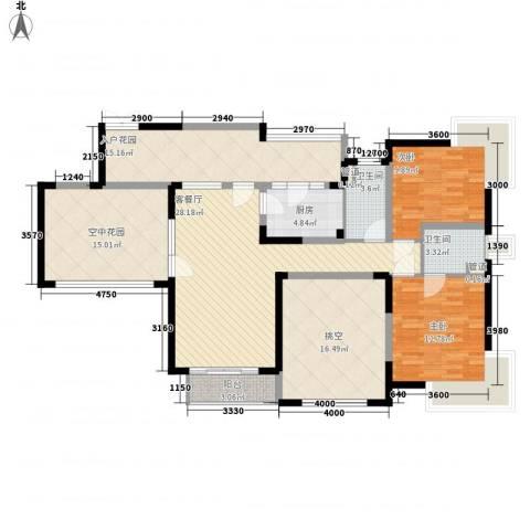 年丰山庄2室1厅2卫1厨126.00㎡户型图