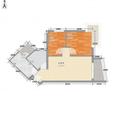 滨江怡苑2室0厅1卫1厨68.00㎡户型图