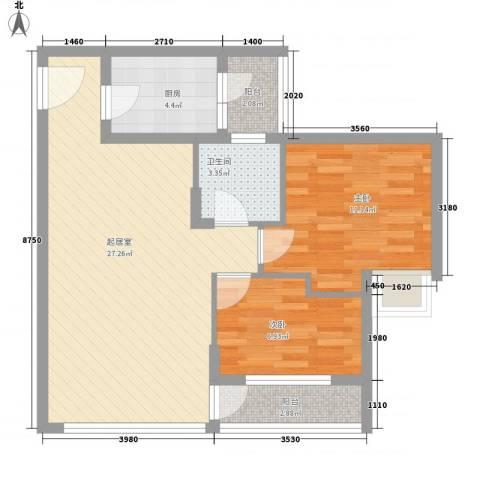 华发国际花园2室0厅1卫1厨84.00㎡户型图