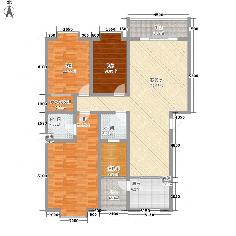 清风晓筑141.53㎡户型3室2厅2卫1厨