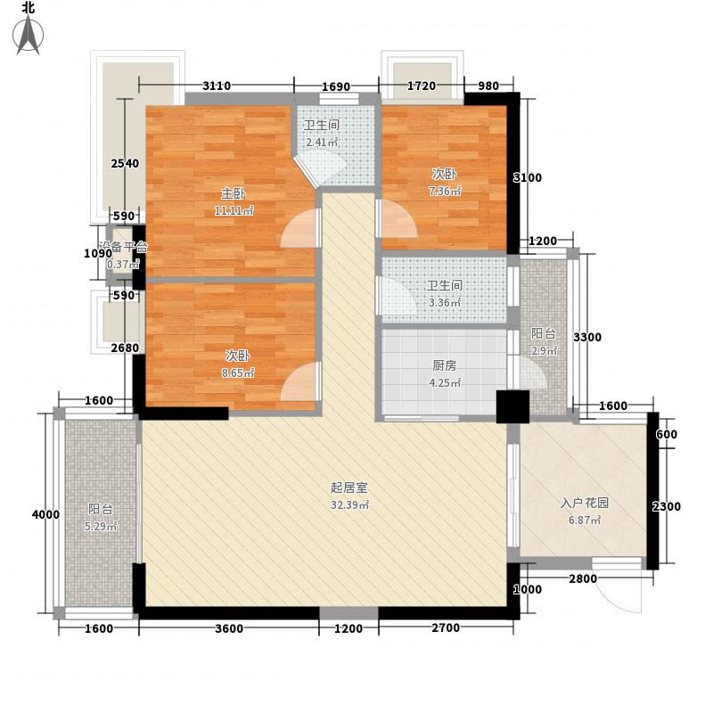 景盛华庭17.30㎡C栋02户型3室2厅2卫1厨