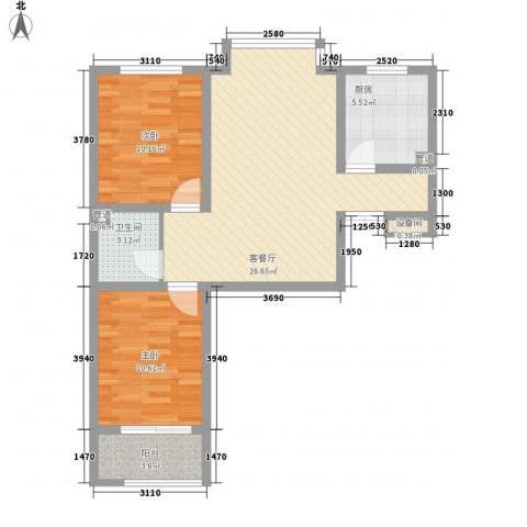 万和世家2室1厅1卫1厨88.00㎡户型图