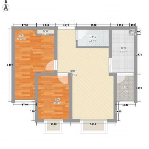 万和世家2室1厅1卫1厨72.00㎡户型图