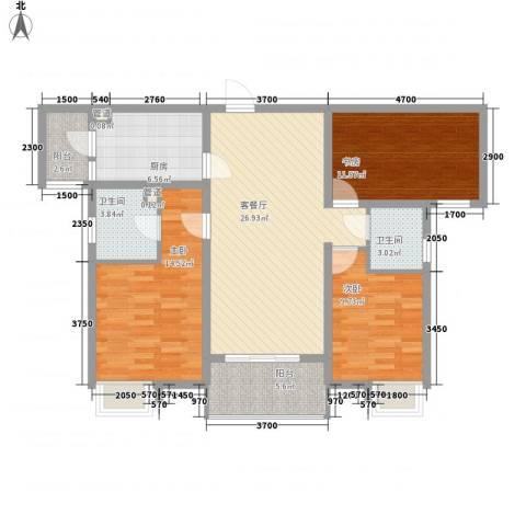 林隐天下3室1厅2卫1厨98.00㎡户型图