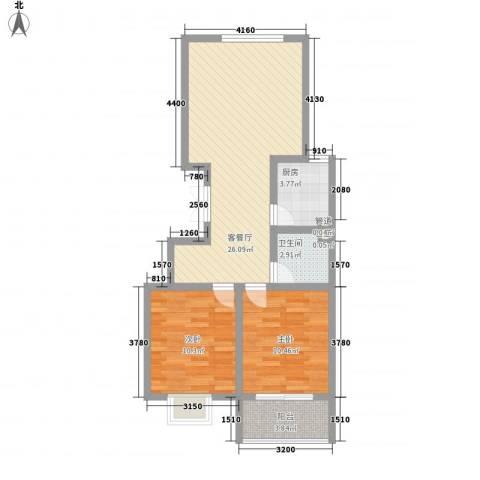 万和世家2室1厅1卫1厨85.00㎡户型图