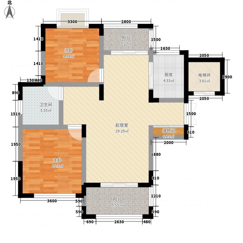 英伦皇都88.80㎡一期18-25#楼G1户型2室2厅1卫1厨