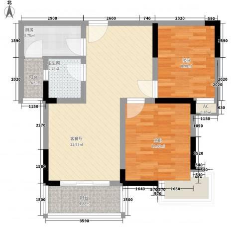 名邦锦绣年华2室1厅1卫1厨120.00㎡户型图