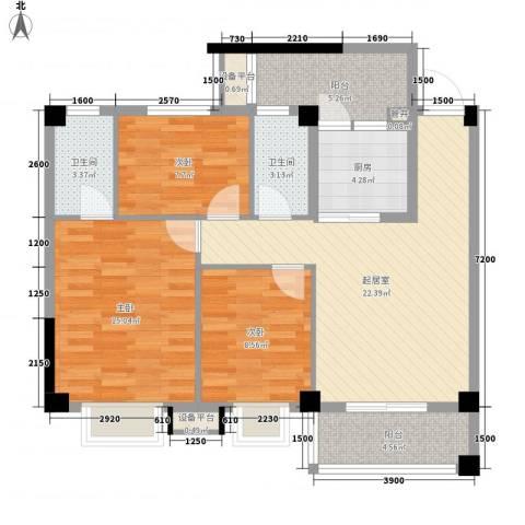 西堤国际花园3室0厅2卫1厨92.00㎡户型图
