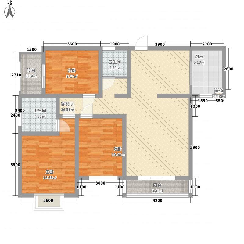 香草园春晓121.60㎡5C户型3室2厅2卫1厨