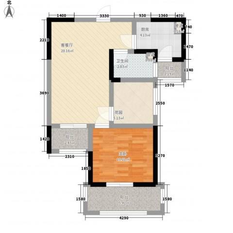 常发香城湾1室1厅1卫1厨62.00㎡户型图