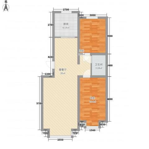 惠德花园2室1厅1卫1厨89.00㎡户型图