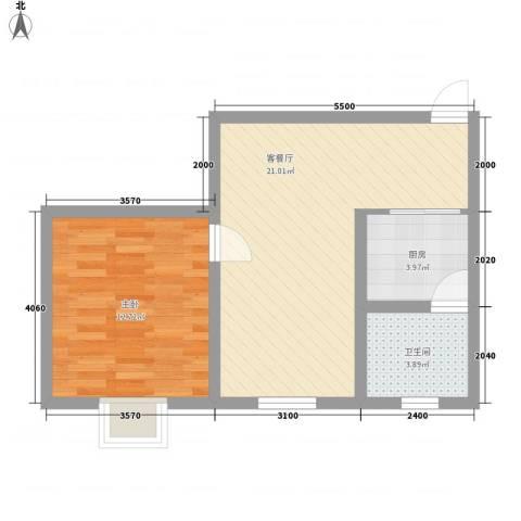 开元漓江上城1室1厅1卫1厨54.00㎡户型图