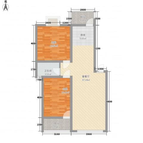 开元漓江上城2室1厅1卫0厨84.00㎡户型图