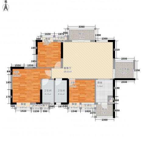 奥园金域3室1厅2卫1厨113.00㎡户型图