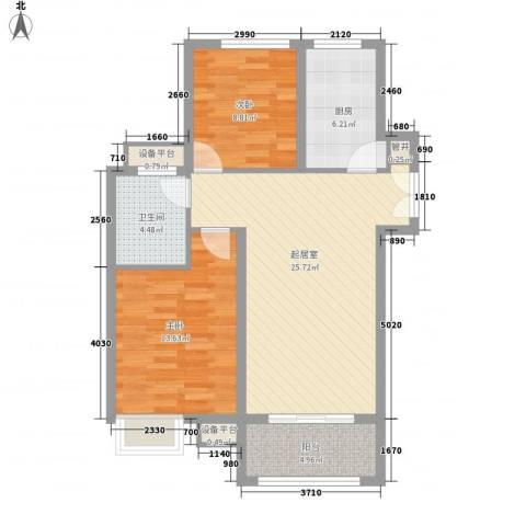 中海国际社区2室0厅1卫1厨80.00㎡户型图
