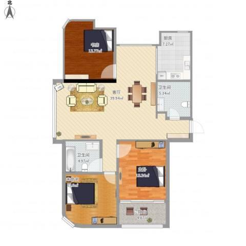 绿城皇冠花园2室1厅2卫1厨139.00㎡户型图
