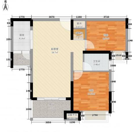中海国际社区2室0厅1卫1厨95.00㎡户型图