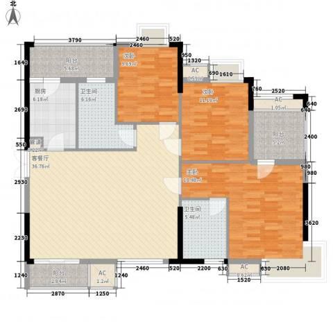 万花冲壹号3室1厅2卫1厨156.00㎡户型图