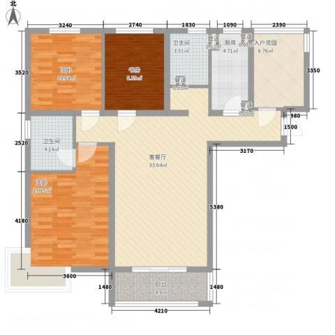 东亚・国际城3室1厅2卫1厨136.00㎡户型图